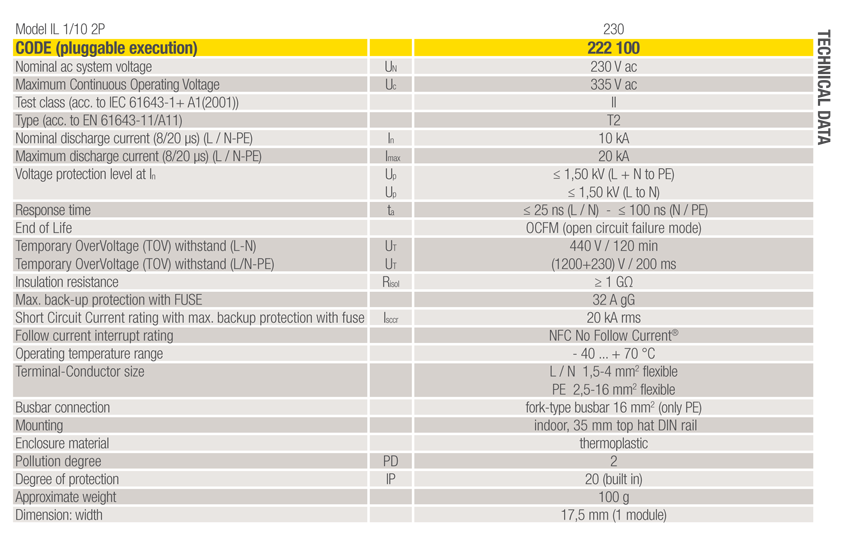 data sheet spd IL 1-10 2P